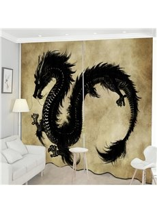 Black Flying Dragon Creative Pattern 3D Print Curtain