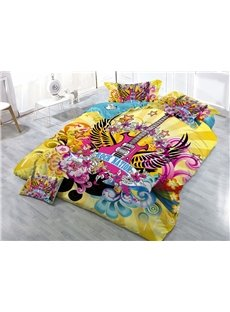 Guitar with Wings Yellow Printed 4-Piece 3D Bedding Sets/Duvet Covers