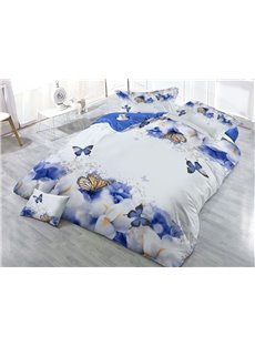 Blue and White Flower Printed Butterflies 4-Piece 3D Bedding Sets/Duvet Covers