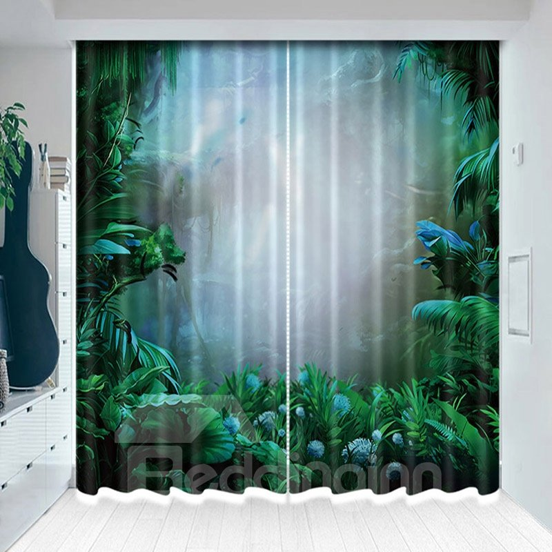 Mystery Foggy Jungle Blackout Vivid Green Plants Curtain