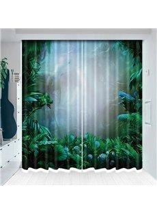 Mystery Foggy Jungle Blackout Vivid Green Plants Curtain