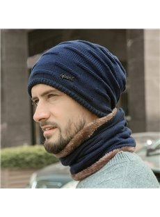 Plus Velvet Thick Warm Knit Hat with Scarf