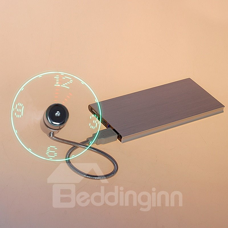 LED Clock Fan with Real Time Display Function USB Clock Fan