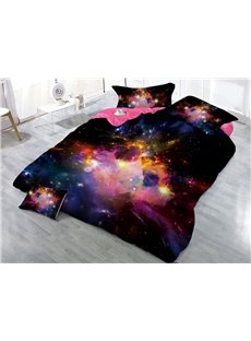 Multi Color Nebula Mysterious Galaxy Printed 3D 4-Piece Bedding Sets/Duvet Covers