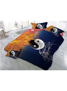Yin Yang Water and Fire Printed 3D 4-Piece Bedding Sets/Duvet Covers