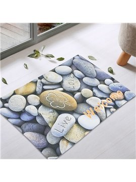 Stones Pattern Rectangle Waterproof Modern Style Area Rug