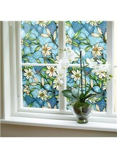 Floral Painting Window Film Stained Glass No-Glue Self Static Cling