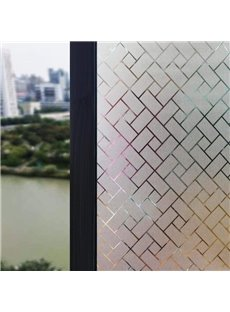Plaid Stained Glass Window Film Static Privacy Film for Home