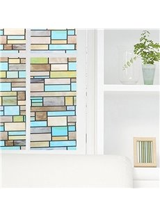 Painting Plaid Window Film Stained Glass No-Glue Self Static Cling for Home