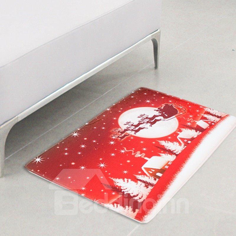 Christmas Home Decor Polyester Waterproof Area Rug