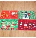 Merry Christmas Cartoon Pattern Machine Made Area Rug