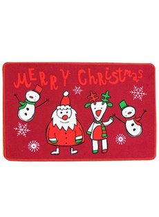 Merry Christmas Cartoon Pattern Machine Made Area Rug