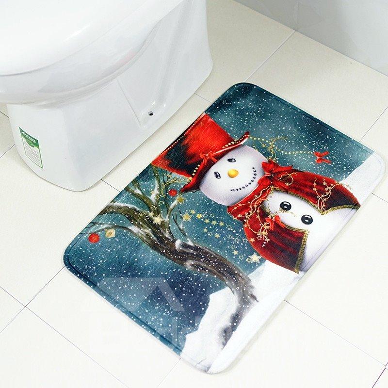 Cartoon Style Christmas Polyester Waterproof Area Rug