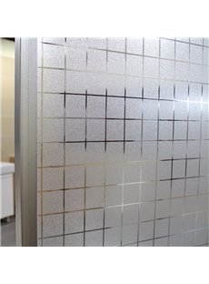 Plaid Static Decorative Privacy No Glue Window Film