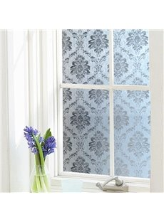 Classic Damascus Pattern Window Film Stained Glass Self Static Cling for Home