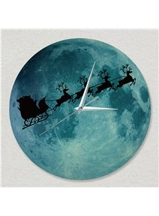 Moon Clock Luminous Fluorescent Night Wall Clock Christmas Elk Mute Clock