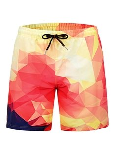 Color Block Casual Style Vivid Color Straight Model 3D Beach Shorts