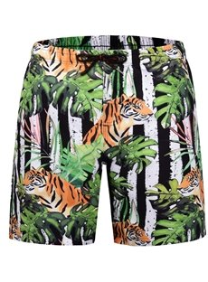Knee Length Print Straight Model Polyester 3D Beach Shorts