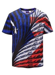 Colorful Feather Casual Style Round Neck Short Sleeve 3D T-Shirt