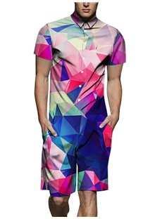Straight Model Round Neck Casual Style 3D Painted Jumpsuits
