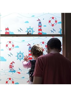 Sea Theme Blue Window Film Static Sticker No-glue for Kids