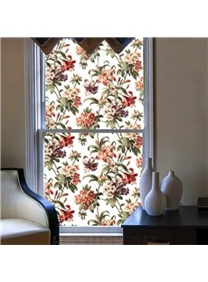 American Traditional Floral Pattern Window Film No-glue Static Sticker