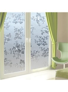 Floral Window Film No-glue Glass Static Sticker Privacy Protection