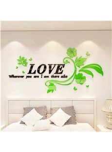 Acrylic Material Love Letter And Flower Pattern Living Room 3D Wall Sticker