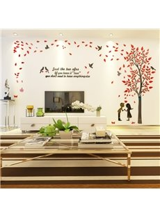 Acrylic Material Tree And Lover Pattern Living Room 3D Wall Sticker