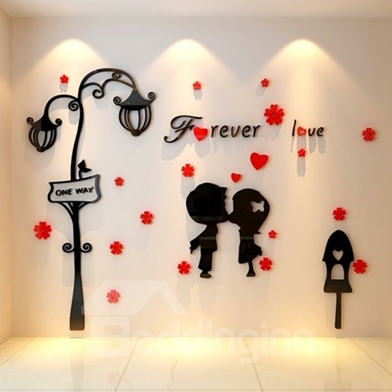 Acrylic Material Lamp And Kissing Figure Pattern Right Side Living Room 3D Wall Sticker