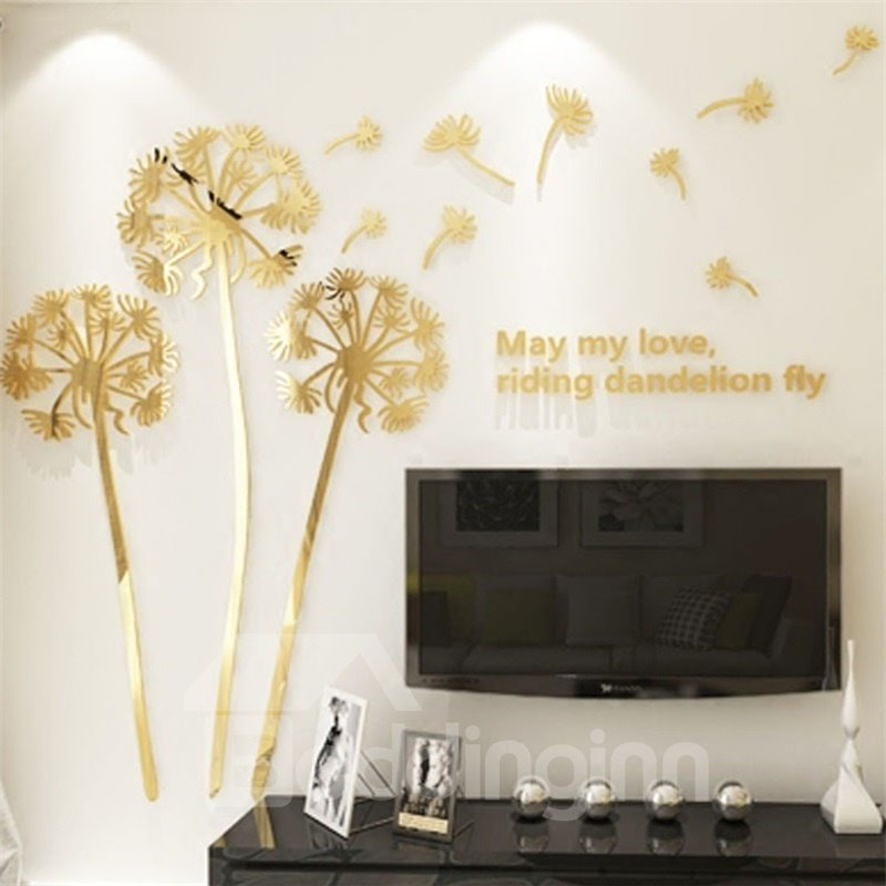 4 Color Acrylic Material Dandelion Pattern Living Room 3D Wall Sticker