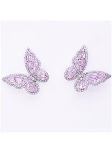 Openwork Pink Ddiamond Butterfly Earrings