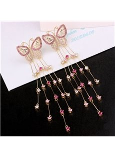 Butterfly Super Fairy Rhinestone Gem Tassel Long Earrings