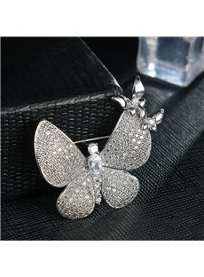 High-grade Shiny Beautiful Zircon Butterfly Brooch