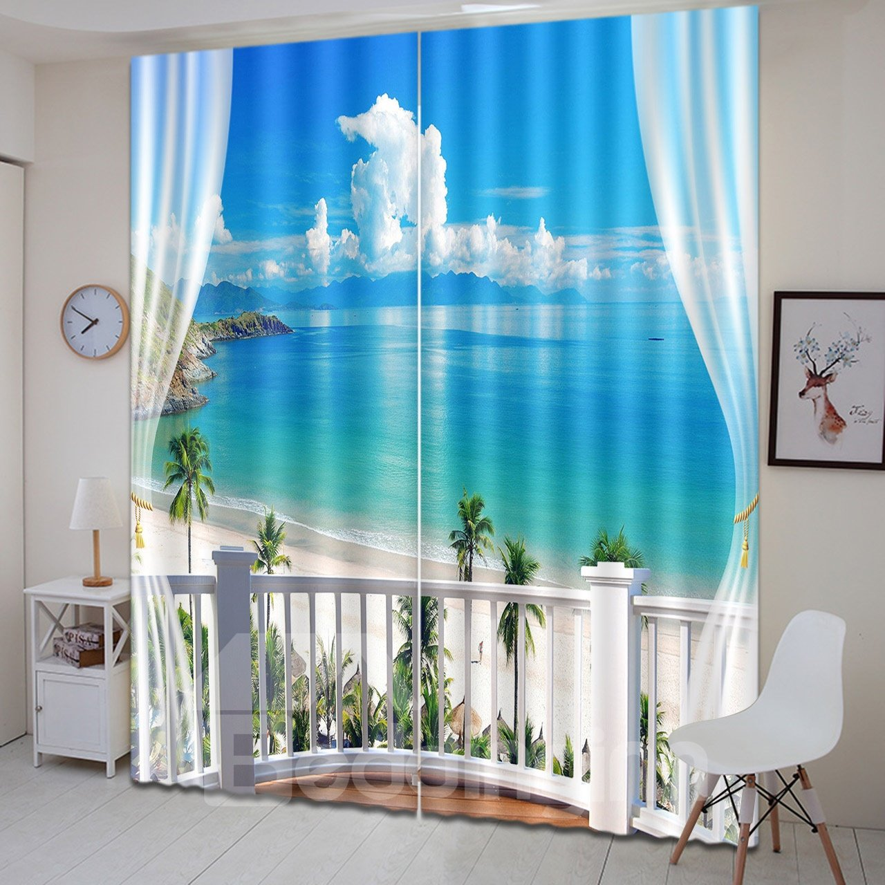 3D Printed Beach with White Clouds and Coconut Trees Scenery Custom Living Room Curtain