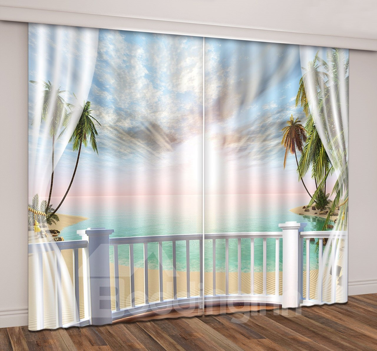 3D Printed Tropical Beach Sunset with Coconut Trees Scenery Custom Living Room Curtain