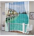 3D Printed Seaside with Girl and Blue Sky Natural Scenery Custom Living Room Curtain
