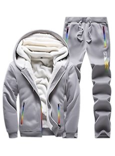Plain Stripe Patchwork Zipper Hooded Sports Style Men's Tracksuits