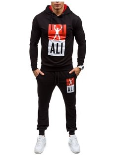 Hooded Print Pullover Straight Model Inelastic Men's Tracksuit