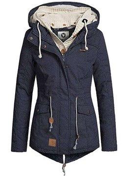 Pocket Zipper Slim Model Polka Dots Inelastic Jacket