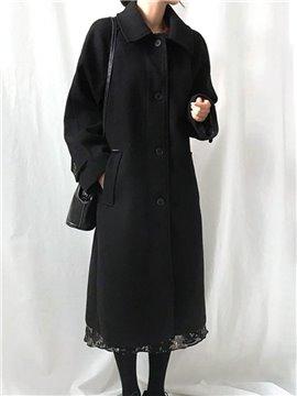 Loose Model Wool Blends Raglan Sleeve Single-Breasted Coat