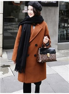 Mid-Length Notched Lapel Double-Breasted Loose Model Coat