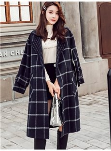 Straight Model Pocket Plaid Winter Plaid Notched Lapel Coat