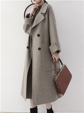 Office Lady Style Loose Model Notched Lapel Double-Breasted Coat
