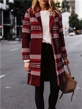 Plaid Winter One Button Lapel Mid-Length England Style Coat