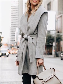 Casual Style Lapel Mid-Length Plain Straight Model Lace-Up Coat
