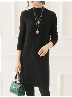 Knee-Length Casual Style Plain Straight Silhouette Stretchy Dress