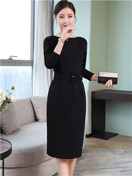 Plain Bodycon Silhouette Knee-Length Office Lady Style Dress