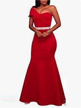 Cap Sleeve Oblique Collar Plain Fashion Style Dress