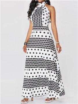 Polka Dots Sleeveless Ankle-Length Turtleneck Western Style Dress